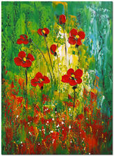 "16x24"" Hand Painted Red Poppies Flower Oil Painting"