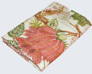 Handmade Kantha Quilt Cotton Patchwork India Queen Indian Ralli Red Vintage Look