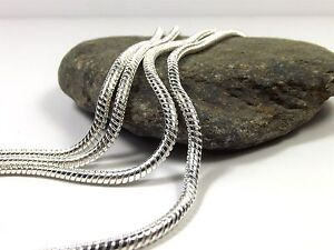 Necklace Chains 925 Sterling Silver Plated Jewellery Snake Bead 16 to 38 Inch