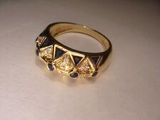 Precioso Antiguo Le Vian Levian 18k Oro Amarillo Zafiro Diamond Mosaico Anillo