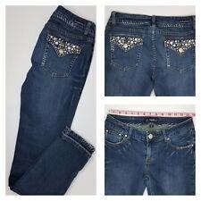 La Idol Women's Skinny Bling Flap Pocket Distressed Jeans Size 7 (27 x 31) EUC