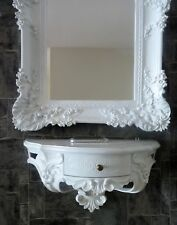 Miroir Mural Baroque Blanc avec Console 50x27 Ancien de Sale Bain 96x57
