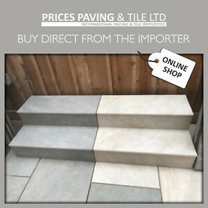 Porcelain Paving BULL NOSED STEPS and RISERS Rectified Vitrified in 8 COLOURS