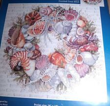 "Janlynn SEASHELL WREATH  Counted Cross Stitch Kit 14"" x 14"""