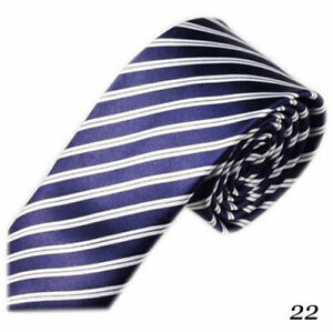 Dark Blue Classic Polyester Skinny Slim Tie With with White Diagonal Stripes