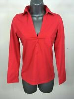 Women's Massimo Dutti Red Long Sleeve Low V-Neck Collared Blouse Top Size Small
