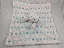 Blankets & Beyond Pink Gray Elephant Lovey Security Blanket Stuffed Animal