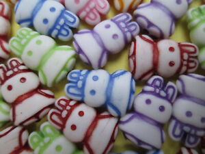 60 x  Mixed Colour 15mm Bunny Rabbit Shaped Beads