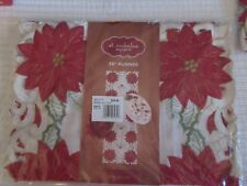 "New Poinsettia Cutout 36"" Table Runner Rv $24.99"