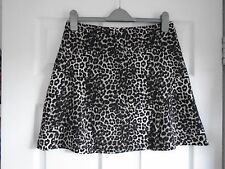 BNWT Brown mix + black/cream leopard print fully lined skater/mini skirt SIZE 16