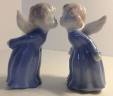 MADE IN JAPAN PAIR OF WHITE CERAMIC KISSING ANGEL BLUE VESTMENT WINGS FIGURINES