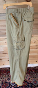 MINT Orvis Flat Front Khaki Chino Cargo Pants with Leather Trim Men's 44 x 30