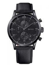 Hugo Boss 1512567 Herrenuhr Chrono mit schwarzem Edelstahlgehäuse & Lederband