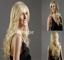 Ladies Long Wavy  Blonde Curly Synthetic Full Wigs High Heat Resistant Sexy UK