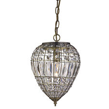 Searchlight 3991AB Moroccan Antique Brass Pendant Light Crystal Glass Buttons