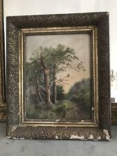Gorgeous Antique Landscape Painting, Original Muted Gesso Frame Circa late1800s