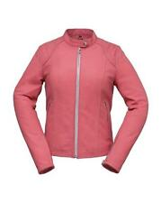 Ladies Pink Leather Sporty Scooter Motorcycle Jacket, Zipout Liner 2X 40-Chest