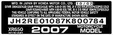 HONDA XR650 OR XL650L  HEADTUBE TAG  / REPRO DECAL