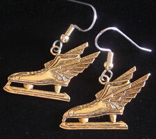 Speed Skates Earrings 24 Karat Gold Plate Ice Wing Skate
