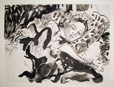 Sargent Original Pen & Ink Figurative Vintage Drawing, Woman Lounging