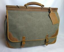 Vtg Briefcase Laptop Bag Brown Faux Leather Tweed Gray Green Distressed Satchel