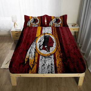 Washington Redskins Fitted Sheet Set 3PCS Bed Sheet Pillowcases Mattress Cover
