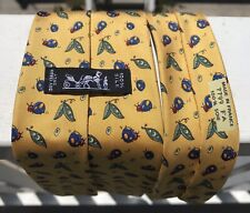 Hermes Silk Tie Necktie Yellow Ladybugs Peapods Pattern 7799 Made in France