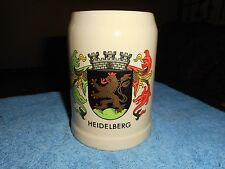 GERZ HEIDELBERG GERMANY BEER MUG COAT OF ARMS CERAMIC MUG MADE IN WEST GERMANY