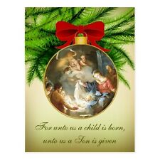 "*Postcard-Christmas Ornament/Nativity-""For Unto Us A Child Is Born..."" (B-112)"