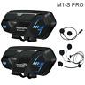 2x M1-S Pro Motorrad Intercom Bluetooth Headset Sprechanlage 2000M Interphone