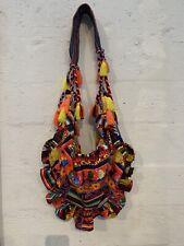 AGUA BENDITA BRIGHT FLORAL HOBO PURSE Bag Tassel Large Ruffle Runway