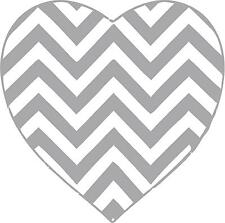 Chevron Pattern heart any color vinyl wall decals