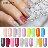 19Colors NICOLE DIARY 10ml Dipping Acrylic Powder Glitter White Acrylic Nail Art