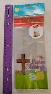 """Wilton Easter Blessings Party Bags Christian Cross 20-pk 4x2x9.5"""""""