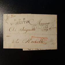 FRANCE MARQUE POSTALE LETTRE COVER P2P ST QUENTIN 1829 40x10 P5P5 PPPP FRANCO