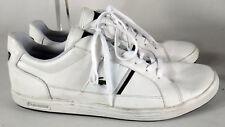 Lacoste WHITE Leather alligator shoe us 15 49 stripe logo 14 boat europa