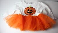 Pumpkin SPARKLE Mud Pie Baby Girls Newborn 0-6 Months Halloween Tutu Dress