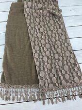 Tan Scarf Dot Lace Overlay Soft Fleece Wam Floral Lace Trim Brown Unique.
