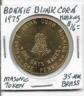 Masonic Token: Bonnie Blink Corn Husking, 1975, 35mm Brass