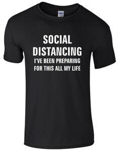 SOCIAL DISTANCING Mens T-Shirt - Funny Printed Novelty 2021 Lockdown Quarantine