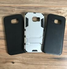 Lot Of 3pc Samsung Galaxy S7 Edge Case Cover Android Carbon Fiber Silver Texture