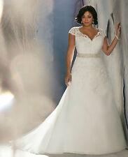 wedding dress white ivory corset 3144 plus size 10 12 14 16 18 20 22 24 lace up