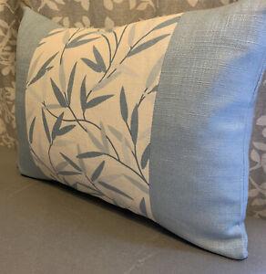"12x16""Panelled Handmade Cushion Cover Laura Ashley Willow Leaf OffWhite/seaspra"