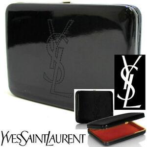 100% AUTHENTIC Exclusive YSL COUTURE SIGNATURE BLACK PATENT Clutch Evening BAG