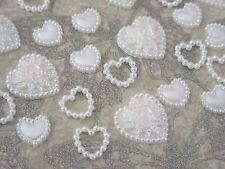 50 Cuori di Perle Mix Color Avorio Abbellimenti Craft Supply scrapbooking card