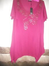 NICE & ELEGANT WOMENS BNWT M&Co RASPBERRY DARK PINK TUNIC TOP UK 20/EUR 48
