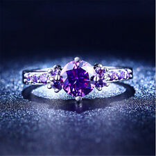White Silver Plated Cut Purple Amethyst Wedding Band Ring Jewelry Size 7-10