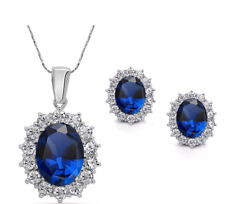 Sterling Silver Crystal Simulated Swarovski Sapphire Earrings Necklace Set