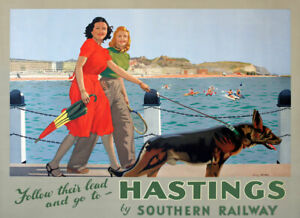 TX541 Vintage Hastings Travel Poster Southern Railway Poster A2/A3/A4
