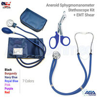 Aneroid Sphygmomanometer Stethoscope Kit Manual Blood Pressure BP Cuff Gauge